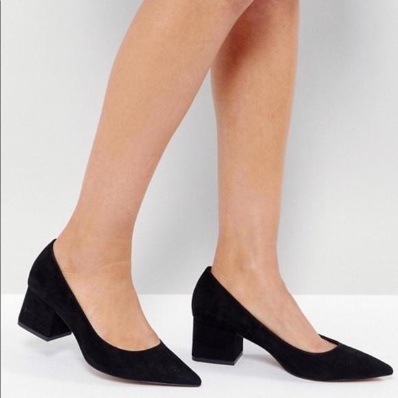 a216a545365 NWT ASOS black court heels sz 7 - block heel